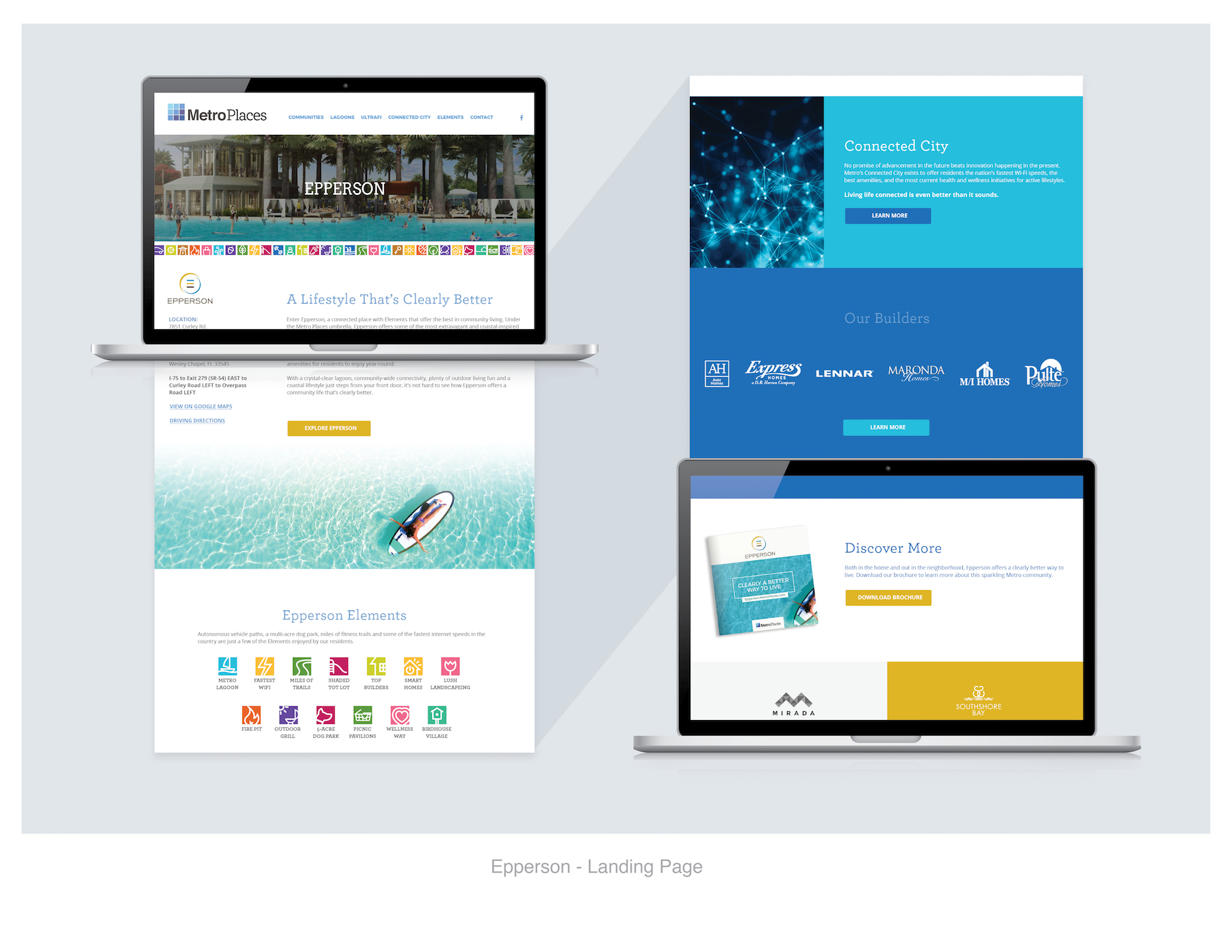 Epperson website and landing pages mock ups